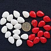 Материалы для творчества ручной работы. Ярмарка Мастеров - ручная работа 17х13 мм, Коралловые бусины Капля, красный и белый. Handmade.