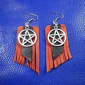 Украшения handmade. Livemaster - original item Leather earrings Pentagram. Handmade.