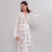 Одежда ручной работы. Ярмарка Мастеров - ручная работа Длинный кружевной халат для невесты, белый халат D-4. Handmade.