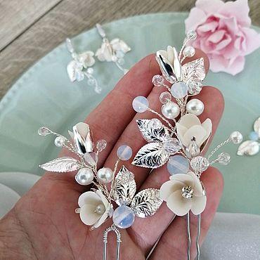 Свадебный салон ручной работы. Ярмарка Мастеров - ручная работа Шпильки для волос невесты Цветы в причёску Свадебные серьги Комплект. Handmade.