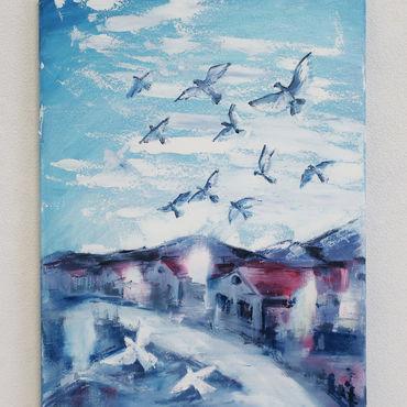 Картины и панно ручной работы. Ярмарка Мастеров - ручная работа Картина маслом Голуби, пара ангелов и тишина. Handmade.