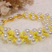 handmade. Livemaster - original item Solar pearl beaded bracelet yellow 095. Handmade.