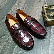 Обувь ручной работы handmade. Livemaster - original item Moccasins made of genuine crocodile leather, in maroon color!. Handmade.