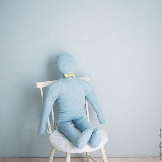 """Человечки ручной работы. Ярмарка Мастеров - ручная работа. Купить Игрушка """"Малыш Вася"""". Handmade. Голубой, человек, радость, джинса"""