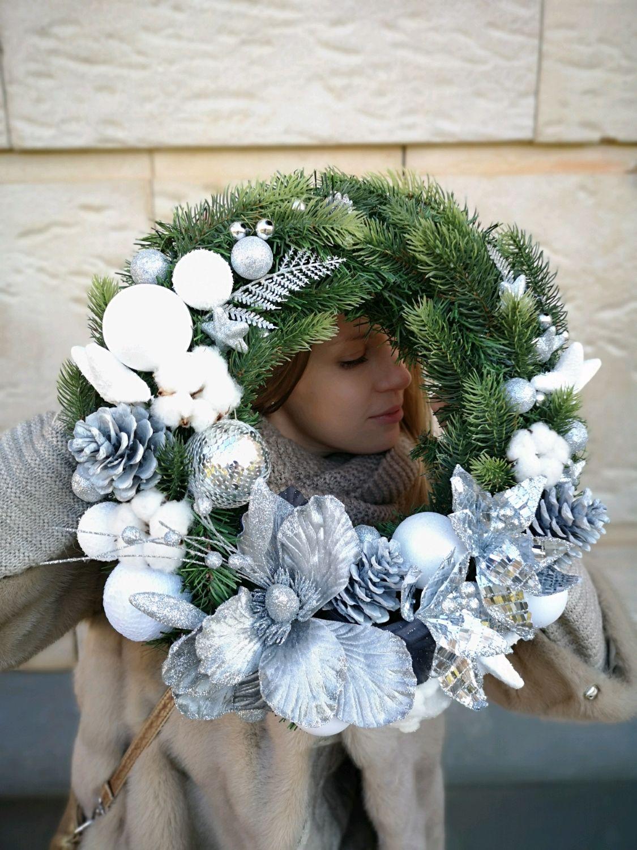 Новогодний венок на парадную дверь или в интерьер, Изделия, Опалиха,  Фото №1