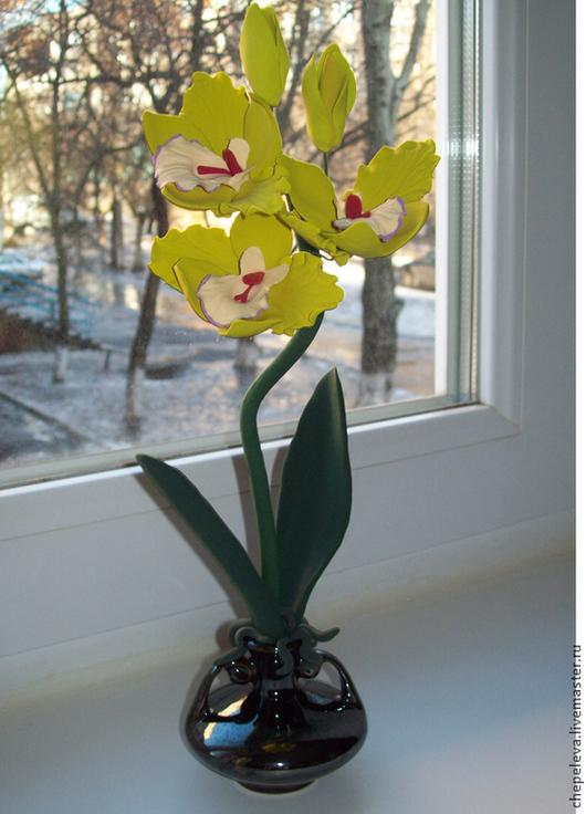 Цветы ручной работы. Ярмарка Мастеров - ручная работа. Купить Орхидея. Handmade. Оливковый, цветы ручной работы