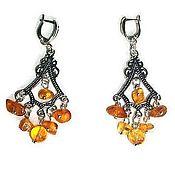handmade. Livemaster - original item Earrings amber with amber natural stones long for girls,women. Handmade.