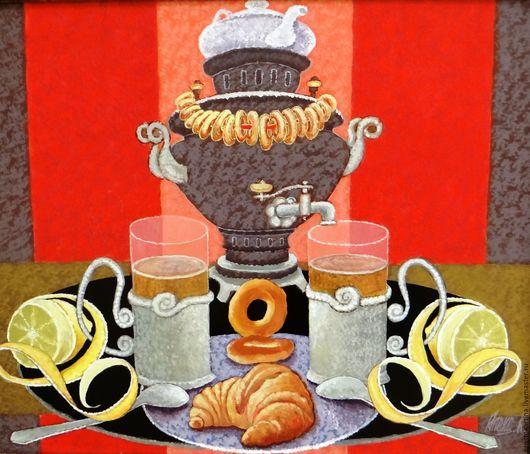 """Натюрморт ручной работы. Ярмарка Мастеров - ручная работа. Купить """" Чай вдвоем"""". Handmade. Комбинированный, натюрморт с самоваром"""