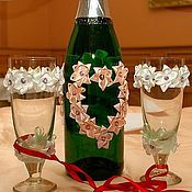 Свадебный салон ручной работы. Ярмарка Мастеров - ручная работа Свадебное шампанское и бокалы. Handmade.