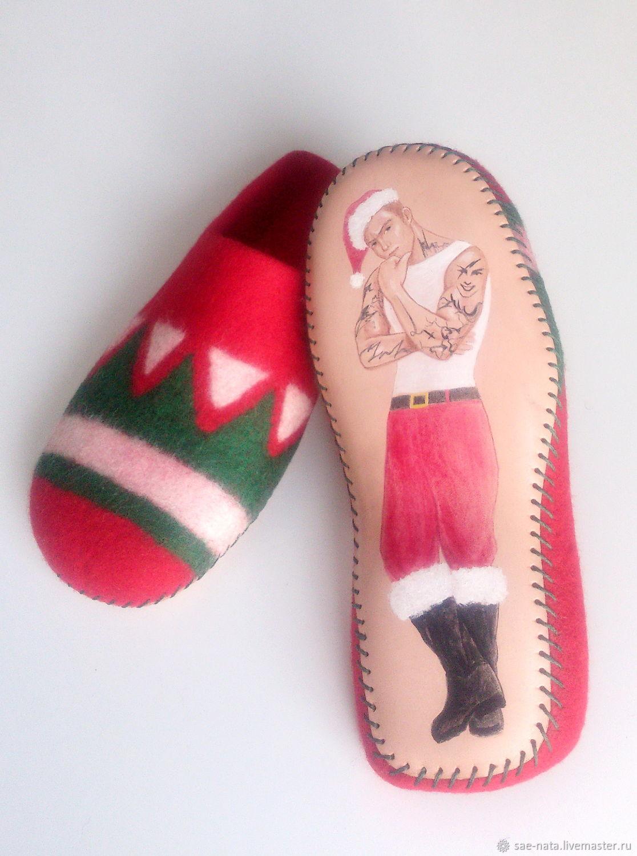 Обувь ручной работы. Ярмарка Мастеров - ручная работа. Купить Тапки валяные мужские. Handmade. Подарок на новый год, тапки из шерсти