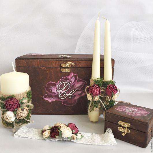 Свадебные аксессуары ручной работы. Ярмарка Мастеров - ручная работа. Купить Комплект свадебный: свечи, шкатулка для колец, сундук и подвязка. Handmade.
