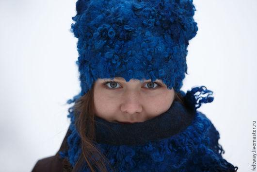 Комплекты аксессуаров ручной работы. Ярмарка Мастеров - ручная работа. Купить Комплект шапка и шарф Ярко-синий. Handmade. Синий