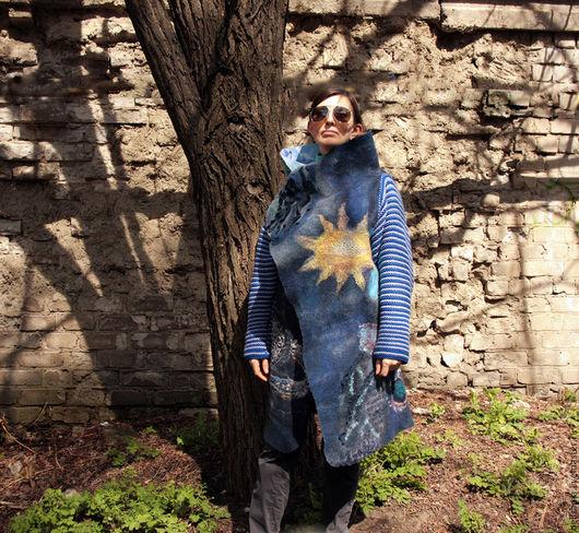 Пиджаки, жакеты ручной работы. Ярмарка Мастеров - ручная работа. Купить Оверсайз жакет-полупальто 'космический'. Handmade. Тёмно-синий