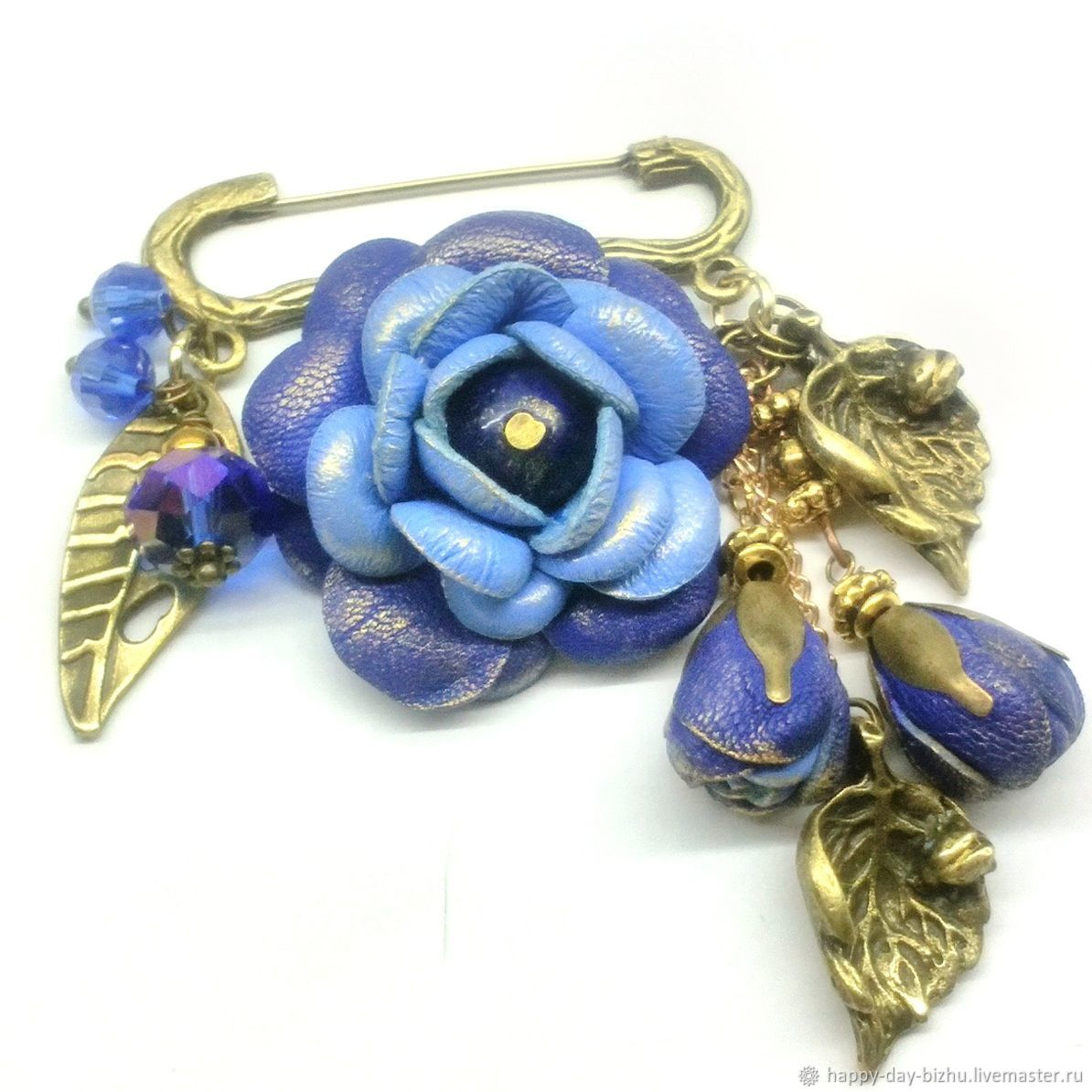Brooch pin with pendants. Brooch with flowers. brooch leather blue, Brooches, Cheboksary,  Фото №1