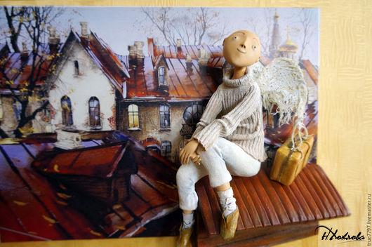 Коллекционные куклы ручной работы. Ярмарка Мастеров - ручная работа. Купить Ангел Хранитель. Handmade. Коричневый, объемная картина, paperclay