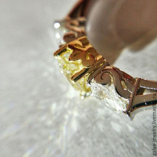 Кольца ручной работы. Ярмарка Мастеров - ручная работа. Купить Кольцо с желтым бриллиантом. Handmade. Золотой, желтое золото