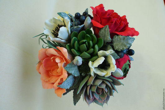 Интерьерные композиции ручной работы. Ярмарка Мастеров - ручная работа. Купить Вазочка с цветами. Handmade. Разноцветный, полимерная глина
