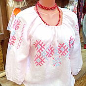 Одежда ручной работы. Ярмарка Мастеров - ручная работа Блузка женская льняная с обережной вышивкой. Handmade.