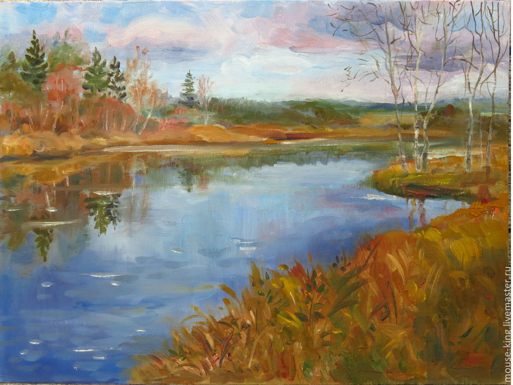 Картина маслом Северный пейзаж с рекой, Картины, Санкт-Петербург,  Фото №1