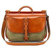 Сумки и аксессуары handmade. Livemaster - original item Leather and tarpaulin briefcase