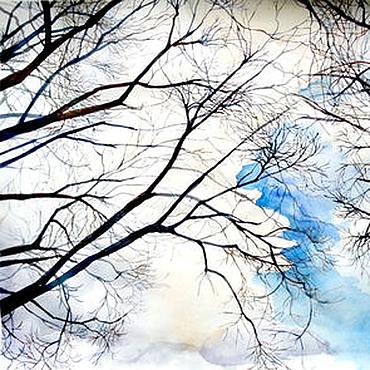 """Картины и панно ручной работы. Ярмарка Мастеров - ручная работа Акварель """"Весенние деревья"""". Handmade."""