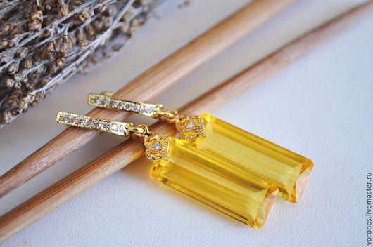 Серьги ручной работы. Ярмарка Мастеров - ручная работа. Купить Серьги из желтого кварца. Handmade. Желтый, ювелирная огранка