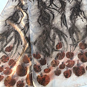 """Аксессуары ручной работы. Ярмарка Мастеров - ручная работа Шелковый шарф """"Рябина"""". Натуральный шелк.. Handmade."""