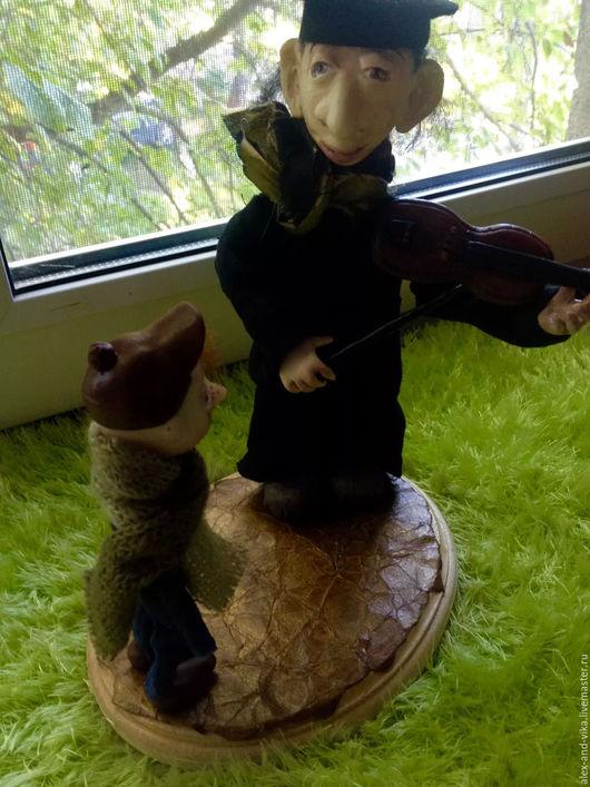 Коллекционные куклы ручной работы. Ярмарка Мастеров - ручная работа. Купить Старый скрипач. Handmade. Коричневый, полимерная глина, хлопок