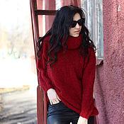 Одежда ручной работы. Ярмарка Мастеров - ручная работа Красный мохеровый свитер с большим воротником. Handmade.