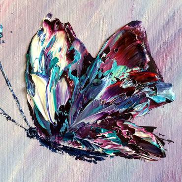 Картины и панно ручной работы. Ярмарка Мастеров - ручная работа Бабочки маслом на холсте. Handmade.