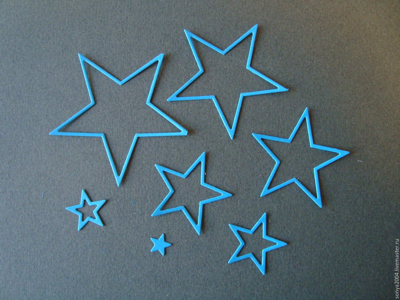 ручной работы. Ярмарка Мастеров - ручная работа. Купить Вырубка Набор звезды. Handmade. Синий, материалы для творчества, материалы для скрапа