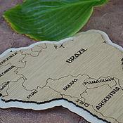 Дизайн и реклама handmade. Livemaster - original item World map with highlight of MDF. Handmade.