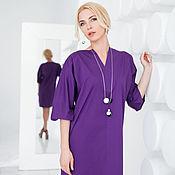 Одежда ручной работы. Ярмарка Мастеров - ручная работа Платье с вырезом, фиолетовое. Handmade.