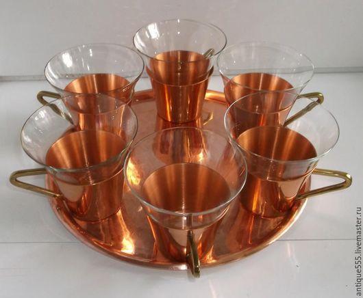Винтажная посуда. Ярмарка Мастеров - ручная работа. Купить Антикварный медный сервиз подстаканники со стаканами на под. Handmade. Стекло