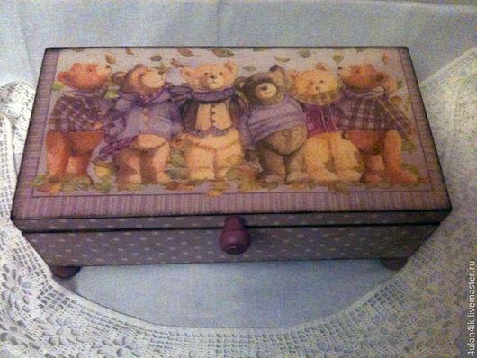 """Шкатулки ручной работы. Ярмарка Мастеров - ручная работа. Купить Шкатулка """"Мишки в сиреневом"""". Handmade. Сиреневый, шкатулка ручной работы"""