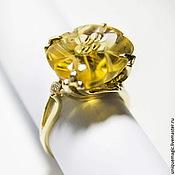 Золотое кольцо с резным цитрином и CZ. 585 проба.