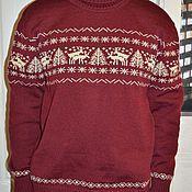 Одежда ручной работы. Ярмарка Мастеров - ручная работа Бордовый свитер с веселыми оленями. Handmade.