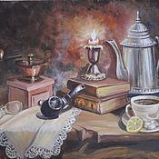 """Картины и панно ручной работы. Ярмарка Мастеров - ручная работа натюрморт """"Сказки черного кофе"""". Handmade."""