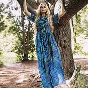 Одежда ручной работы. Ярмарка Мастеров - ручная работа Синее шелковое платье бохо. Handmade.