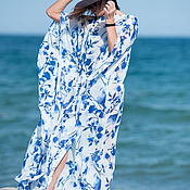 Одежда handmade. Livemaster - original item Summer tunic-a pair of chiffon Maxi long - DR0181CH. Handmade.