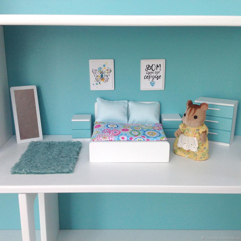 Спальня для кукольного домика Мятный, Мебель для кукол, Новосибирск,  Фото №1