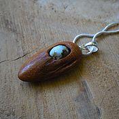 Украшения handmade. Livemaster - original item Wooden pendant with turquoise, red wood. Handmade.