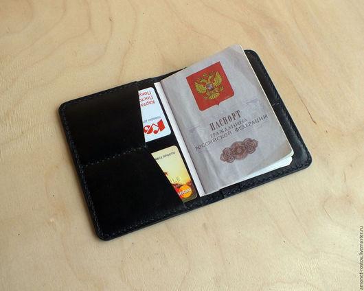 Обложки ручной работы. Ярмарка Мастеров - ручная работа. Купить Обложка на автодокументы/паспорт  + отделы для карт (чёрная). Handmade. Черный