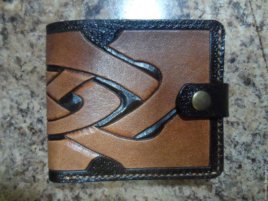 Кошельки и визитницы ручной работы. Ярмарка Мастеров - ручная работа. Купить Портмоне (кошелек, бумажник) двойного сложения (Bi-fold wallet) № 2.. Handmade.