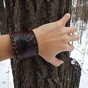 Украшения handmade. Livemaster - original item Wide leather brown bracelet Bear`s paw. Handmade.
