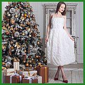 Одежда handmade. Livemaster - original item Jacqueline`s white dress with polka dot embroidery. Handmade.