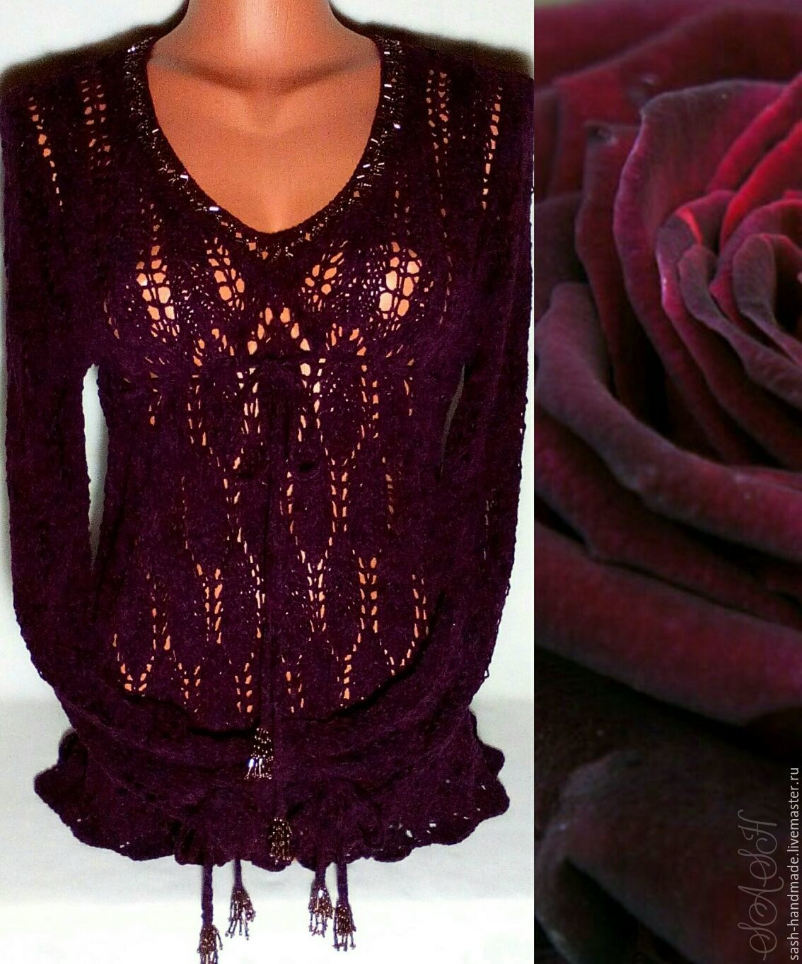 Pullover 'Cherry velvet rose', Pullover Sweaters, Ufa,  Фото №1