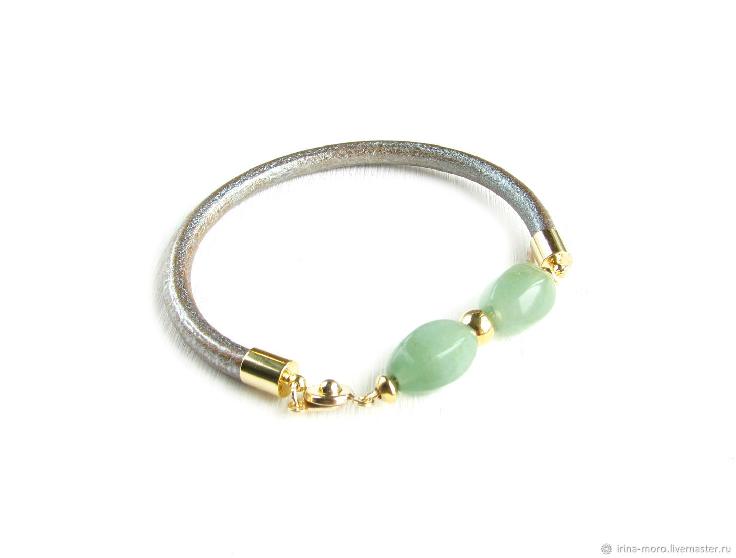 Jade bracelet 'Inspiration' leather jade bracelet, Bead bracelet, Moscow,  Фото №1