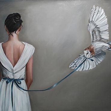 Картины и панно ручной работы. Ярмарка Мастеров - ручная работа Копия Amy Judd девушка с совой. Handmade.