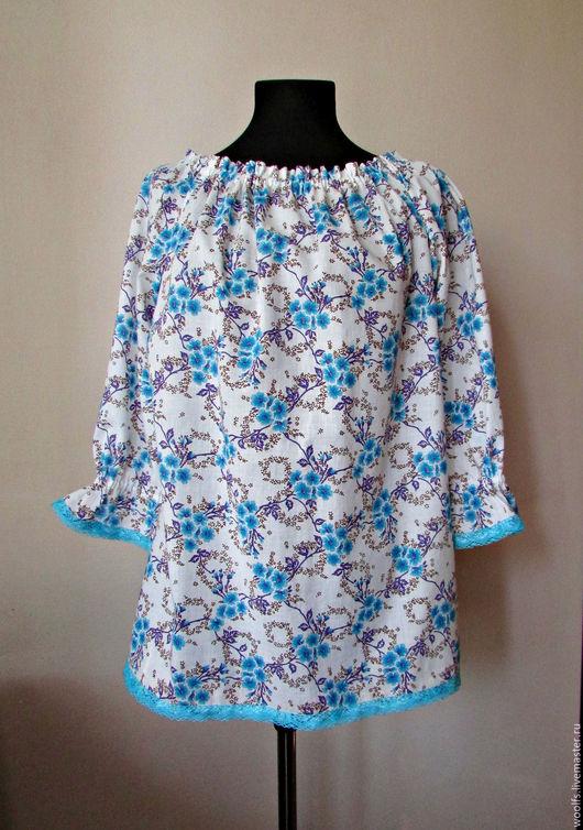 """Блузки ручной работы. Ярмарка Мастеров - ручная работа. Купить Блуза """"Lira"""" из хлопкового батиста. Handmade. Бирюзовый, блузка летняя"""